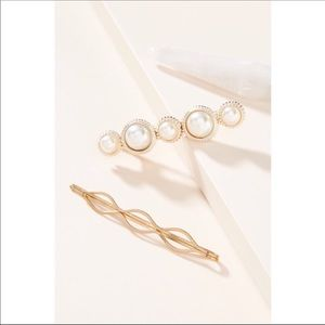 NWOT Anthropologie White Pearl Hair Pin Set of 3